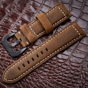 Handmade 4 Color Montre Accessoires Vintage Véritable Crazy Horse Horse Cuir 20mm 22mm 24mm 26mm Montre Bracelet de montre Bande de montre LJ201124