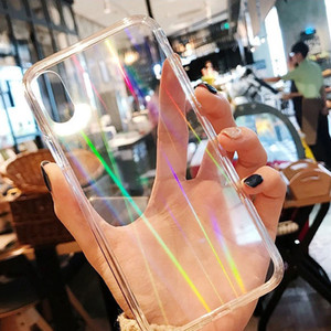 Gradient Rainbow Clear Phone Case for iPhone 12 Pro max 11 XS max XR 8 7 6s Plus For Samsung Laser Hard Cover