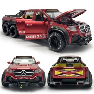 Hommat 1:28 Scala rossa x-class 6x6 pickup camion veicolo modello auto metallo lega diecast giocattolo modello auto modello regali bambini giocattoli per bambini 210128