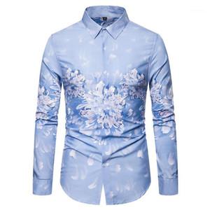 Мужские повседневные рубашки мода синий цветок мужская рубашка с длинным рукавом платье для вечеринка для мужчин блузка цветочная тонкая весна осень неба Blue1