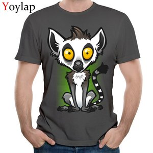 spor YOYLAP Pamuk Erkek Kısa Kollu T Shirt Slim Fit Gömlek Komik Grubu Crewneck Tee Gömlek Lemur Üst Kalite Tops