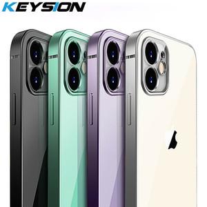 KEYSION Luxo Frame quadrado iPhone para o chapeamento Caso 11 Pro Max macia Magro Limpar Quartos proteção do telefone capa para o iPhone 11 12