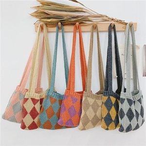 Herbst Winter ins net rot mini stricktasche doppelte farbe diamant wolle handtasche einzelne schulter schräg slitter geldbörsen handtaschen