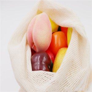 Paño de algodón Orgánico Puro algodón red bolsa de algodón red bolsa de almacenamiento fruta vegetal de café bolsas de almacenamiento PPD3811