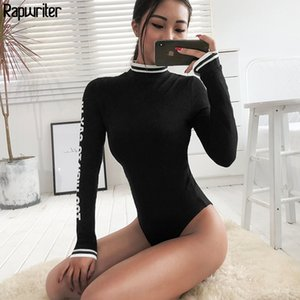 Rapwriter sexy magro painel de turtleneck malha bodysuits mulheres 2020 outono inverno manga longa bodycon letra bodysuit lj200818