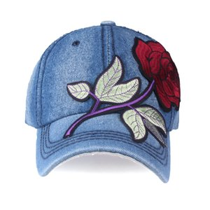 [YARBUU]Brand denim Baseball Cap with red Rose women casual snapback hat new fashion solid jeans caps summer sun lady girl hats 201014