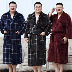 Men Extra Plus Size 3XL Long Bathrobe 135KG Winter Warm Flannel Bath Robe Mens Kimono Robes Women Sleepwear Sexy Dressing Gown1