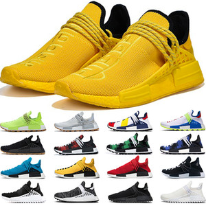 Adidas NMD Human Race Boost Corrida humana Dos Homens Das Mulheres Tênis de Corrida Pharrell Williams HU Corredor Branco Preto Amarelo Vermelho Verde Cinza