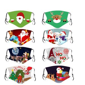 Christmas Santa Claus Gift Adult Kids Mask Washable Cotton Breathable Dustproof PM2.5 Cartoon Face Party Masks Fashion Design Facemasks