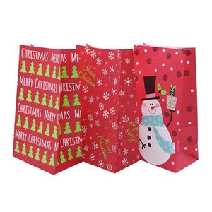 5 10pcs Merry Christmas Gift Bags Red Candy Box Bags Santa Xmas Tree Snowflake Kraft Paper Christmas Party Wrapping Supplies