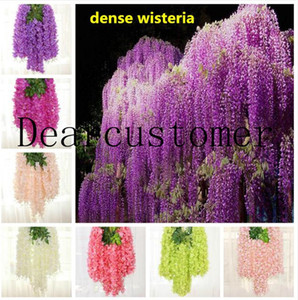 8 colors dense wisteria flower artificial silk flower vine 110cm elegant wisteria vine rattan for garden home wedding decoration