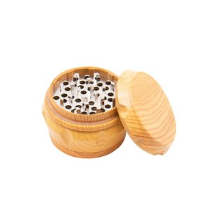 Wooden Drum Herb Grinder Wood Plastic Metal 4 Layers 63mm Chamfer Side Concave Tobacco Grinders Smoking Accessories DHL fast shipping