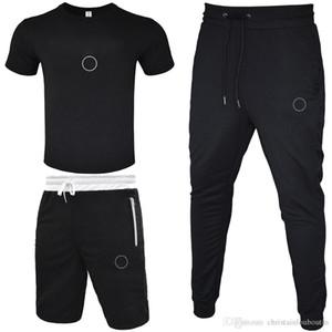 T-shirt da uomo Tracksuit 2020 T-shirt + pantaloni corti + Pantalone lungo Pant 3 pezzi Set Solid Color Outfit Abiti Tute di alta qualità Tute
