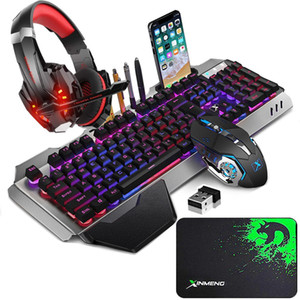Wireless Gaming Keyboard Mouse and Wired Gaming Headset Combo,Rainbow Backlit Rechargeable Metal Mechanical Feel Keyboard for Laptop PC Game