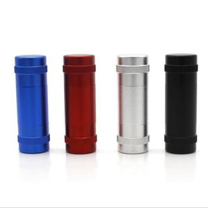 Caso de aluminio del espacio de la aleación de metal polen Prensa Comprimir Con 2 Pasador Varillas 4 colores para fumar pipas de agua Herramientas Amoladoras