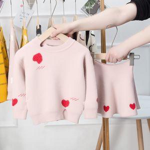 2019 sonbahar ve kış giysileri takım elbise kız grubu Kids elbise etek seven iki parçalı kazak evladımız ve ceket Setleri çocuk