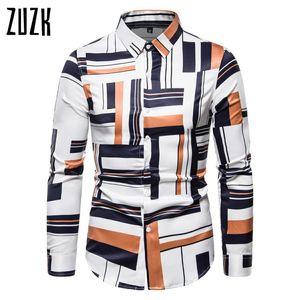 2020 Summer Men's Shirt British Style Men's Long-Sleeved Slim Shirt