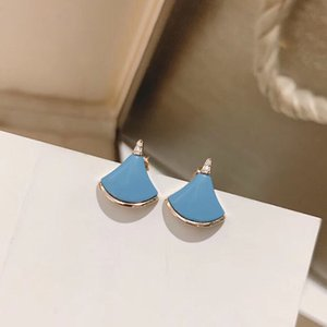 2020 luxury jewelry 925 sterling silver fan dress shape natural Blue Turquoise stud earrings for girls best gift free shipping
