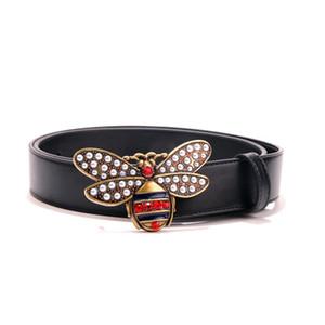 Cinturones de diseño negro de lujo caliente para hombres Cinturón de patrón de abeja Cinturón masculino Cinturones de castidad de moda Moda Cinturón de cuero al por mayor Buen envío gratis