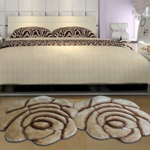 New Fashion Creative Flower Shaped Rug Europe 3D Double Rose Carpets For Decorate Living Room Bedroom Delicate Personal Soft Mat