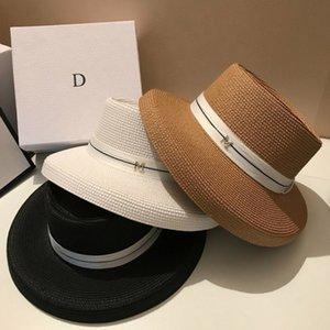 Yeni kadın Geniş Brim Güneş Şapkaları Yaz Şerit M Hasır Şapka Moda Katlanabilir Plaj Boater Şapka Kap Tatil Audrey Hepburn Y200714