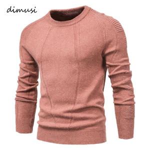 Dimusi Utumn Winter Pullover Massivfarbe Männer Pullover Oansatz Geometrie Pullover Männer Lässige Mode Slim Pullover Herren Kleidung
