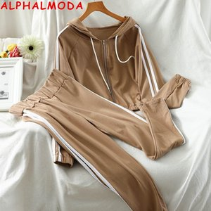 ALPHALMODA Hooded Zipper Sweatshirt Trouers 2ST Sport Anzug Frauen nehmen gestreiftes Strickjacken Hosen Art und Weise 2pcs Anzug