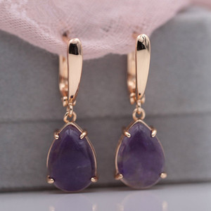 10 Pairs Trendy Gold Plated Water Drop Amethyst Crystal Dangle Earrings for Women Malachite Stone Jewelry