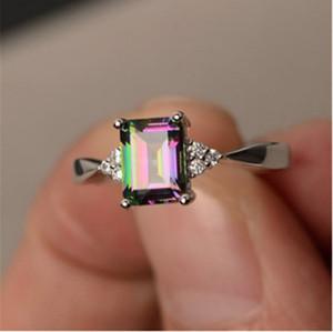 Squisito anello in argento sterling da donna squisito principessa taglio mistico arcobaleno topaz fidanzamento diamante gioielli spedizione veloce