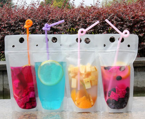 Clear Drink Pouches Bags frosted Zipper Stand-up Plastic Drinking Bag with colorful straw with holder Reclosable Heat-Proof 500ml Free ship