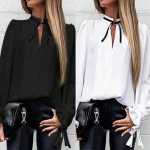 Women Autumn Fashion Korean V-Neck Solid Ruffles Cuff Tied Neck Shirt Long Sleeve T-Shirts Casual Elegant Office Lady Tops1