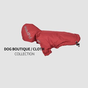 New pet warm clothes winter dog clothes plus velvet padded jacket waterproof two-legged hooded black red raincoat