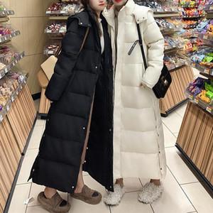 Женские Parkas 2021 осень зима мода женские капюшоны пальто женский длинный прямой хлопок лайнер плюс размер дамы вскользь теплые