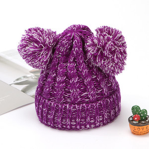 Fashion Warm Knit Beanies Hats Girls Soft Double Balls Fall Winter Thermal knitting Hat Outdoor Baby Pompom Ski Caps Party Hats GWF3365