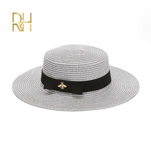 Ladies Sun Fedora Hats Small Bee Straw Hat European and American Retro Gold Braided Hat Female Sunshade Flat Cap Visors Hats RH 201015