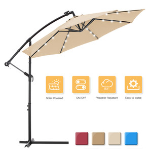 WACO Patio Umbrella with Solar LED Light, Outdoor 10 FT Offset Hanging Umbrella Pole Light Waterproof Camping Tents