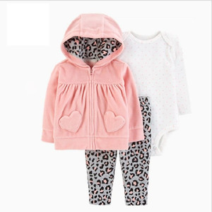 BABY GIRL CLOTHES long sleeve hooded coat+bodysuit cotton+pants newborn boy set winter fall infant clothing new born outfit 201201