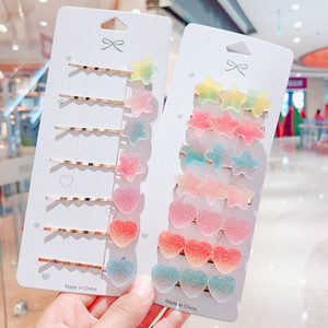 2pcs Set Candy Color Hairclips with Card hildren Girls Metal Alloy BB Hair Clips for Girls Baby Kids Women