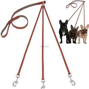 Three Way No Tangle Puppy Dog Leash Coupler Leather Triple Dog Leash Lead Tangle Free For Walkin bbyROl