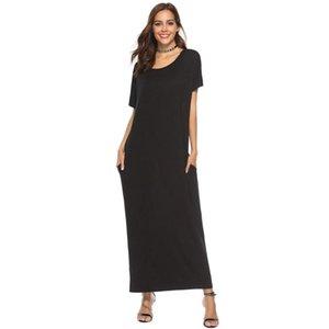 Etnik Giyim Pamuk Kadın Yaz Kısa Kollu Katı Maxi Elbise Cep Abaya Kaftan Dubai Ramazan Eid İslam Jubah Djellaba VKDR2279