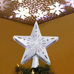 Del árbol de navidad con luz de plata / oro 3D Star abrir y cerrar con la rotación del copo de las luces del proyector Para ornamento de navidad Decoración