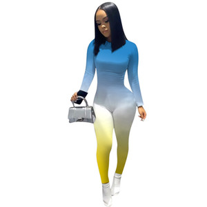 Womens Designer Rompers Spring Autumn Sexy Long Sleeve Gradient Color Skinney Jumpsuits Fashion Casual Female Clothing