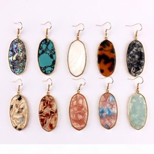 Gold Plated Leopard Acrylic Resin Tortoise Oval Dangle Fashion Jewelry Abalone Shell Oval Geometric Drop Statement Earrings