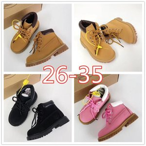 Marque bois 6 pouces Toddler Enfants Bottes Classique Cuir Garçons imperméables Chaussures Filles Concepteurs Blé Noir Nubuck enfants Bottes Taille 26 w8vm #