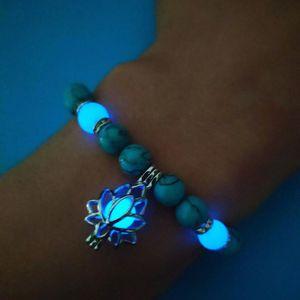 Luminous Fluorita Lotus Mulheres Yoga pulseiras brilham no escuro Natural Pedra Bedas Braceletes