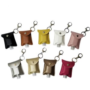 PU Leather 30ML Disposable Hand Sanitizer Bottle Holder Keychain Perfume Soap Holster Key Rings with 30ml Bottle 10.5*7cm OWE2106