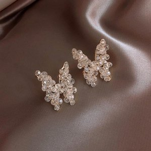 Korea Hot Sale Fashion Jewelry Hand Woven Stereo Crystal Butterfly Earrings Elegant White Wild Earrings for women
