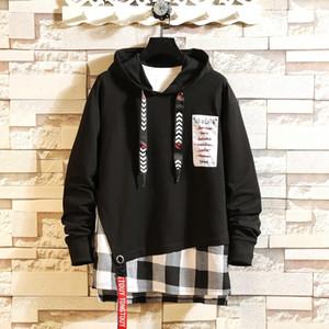 Mens Hoodies Hip Hop Streetwear Men Print Letter Ribbon Sweatshirt Male Pullover Hoddies Black White Korean Sweetshirts hip hop Y201001
