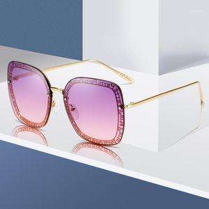 Güneş Gözlüğü Marka Tasarım Moda Kadınlar Metal Çerçevesiz Güneş Gözlükleri Lady Lüks Sunglass UV400 Shades Gözlük1