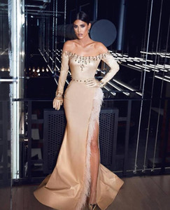 2021 Gorgeous Feather Evening Dresses Champagne Sheath Long Sleeves Crystal Beading Long Prom Gowns High Split Noble Pageant Formal Party